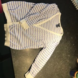 Blue and white striped Izod cardigan